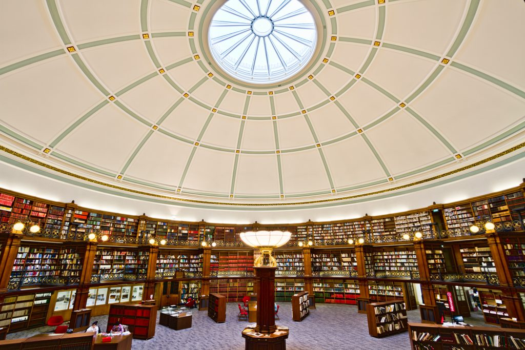 Library with white ceiling