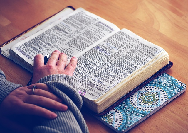 A Bible being read