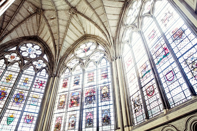 Gothic cathedral, tall stained glass windows