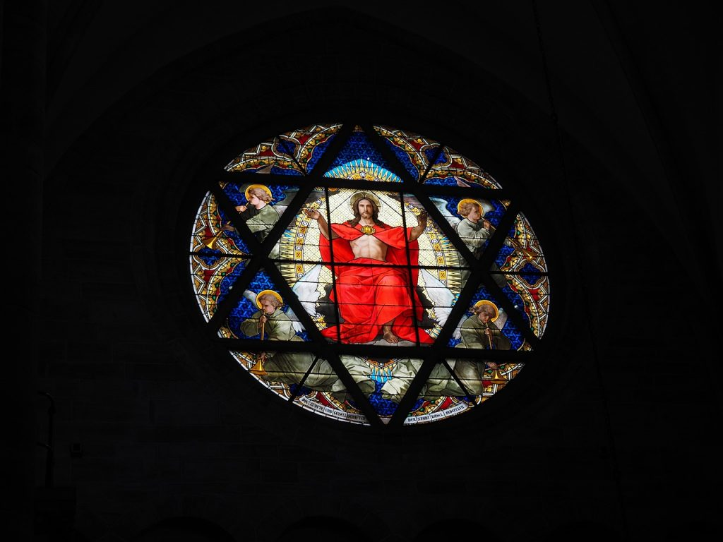 A stained glass window of Jesus