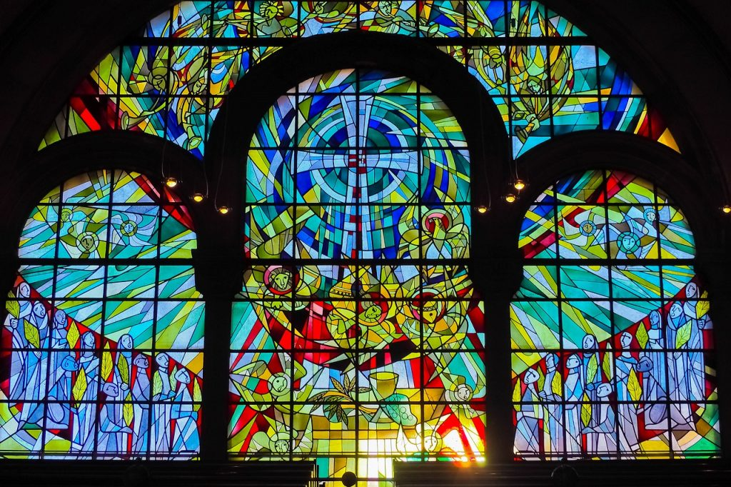 Stained glass with a cross