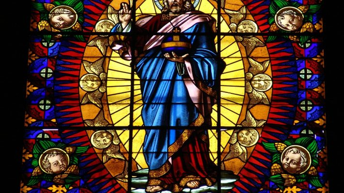 Jesus depicted in stained glass